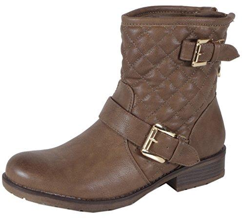 Shellya - stylische Steppmuster Damen Halbschaft Stiefeletten Karo Biker Boots Blockabsatz Herbst Winter Schuhe 36 37 38 39 40 41 Steppmuster Khaki