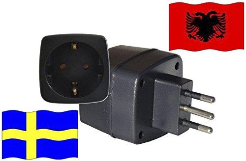 Reiseadapter für Albanien mit Kindersicherung und Schutzkontakt - Schweden Adapter 250 Volt