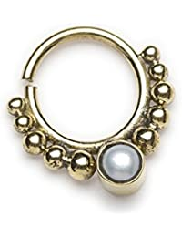 EKA Pearl Messing Septum Ring für gepiercte Nase–1mm (Code 6)