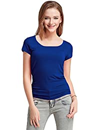 Fashion Line Premium Quality Stylish Printed Round Neck T Shirts For Women _Color : Navy Blue _Material : Cotton (Pack of 1 )