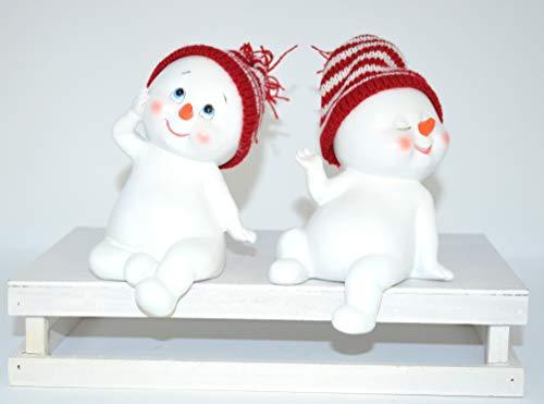 Jürgen Schleiß Konfektion Schneemann Figur Poly mit Strickmütze • 3 Motive zur Auswahl • Schneemänner Winter Weihnachten Weihnachtsdekoration Schneekinder (Schneemänner Kantenhocker 2er Set 13cm)