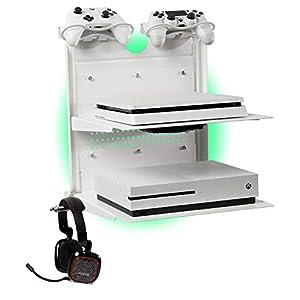 GameSide Bundle Double Shot – Horizontal wandhalterung mit Kühlgebläse, vielfarbig led licht für PS4, Slim und Pro, PS3, Xbox One X, Xbox One S, Xbox 360 | Raum für 2 pads | Weiß