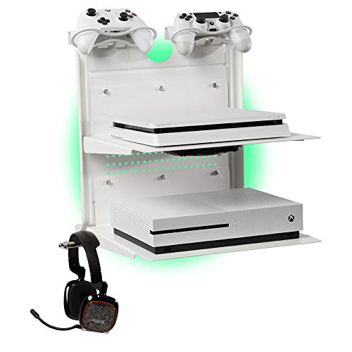 GameSide Bundle Double Shot - Horizontal wandhalterung mit Kühlgebläse, vielfarbig led licht für PS4, Slim und Pro, PS3, Xbox One X, Xbox One S, Xbox 360 | Raum für 2 pads | Weiß (Xbox 360 Slim Bundle Weiß)