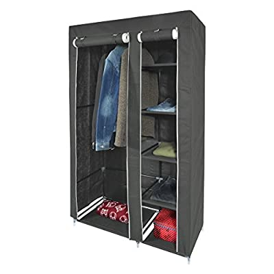 Harima - Keep Grey Double 2 Door Deluxe Canvas Wardrobe Garment Rail Bedroom Furniture Storage Organiser Foldable Lightweight Non-Woven Fabric Clothes Rail Cupboard with 5 Coat Hangers Included - inexpensive UK light shop.