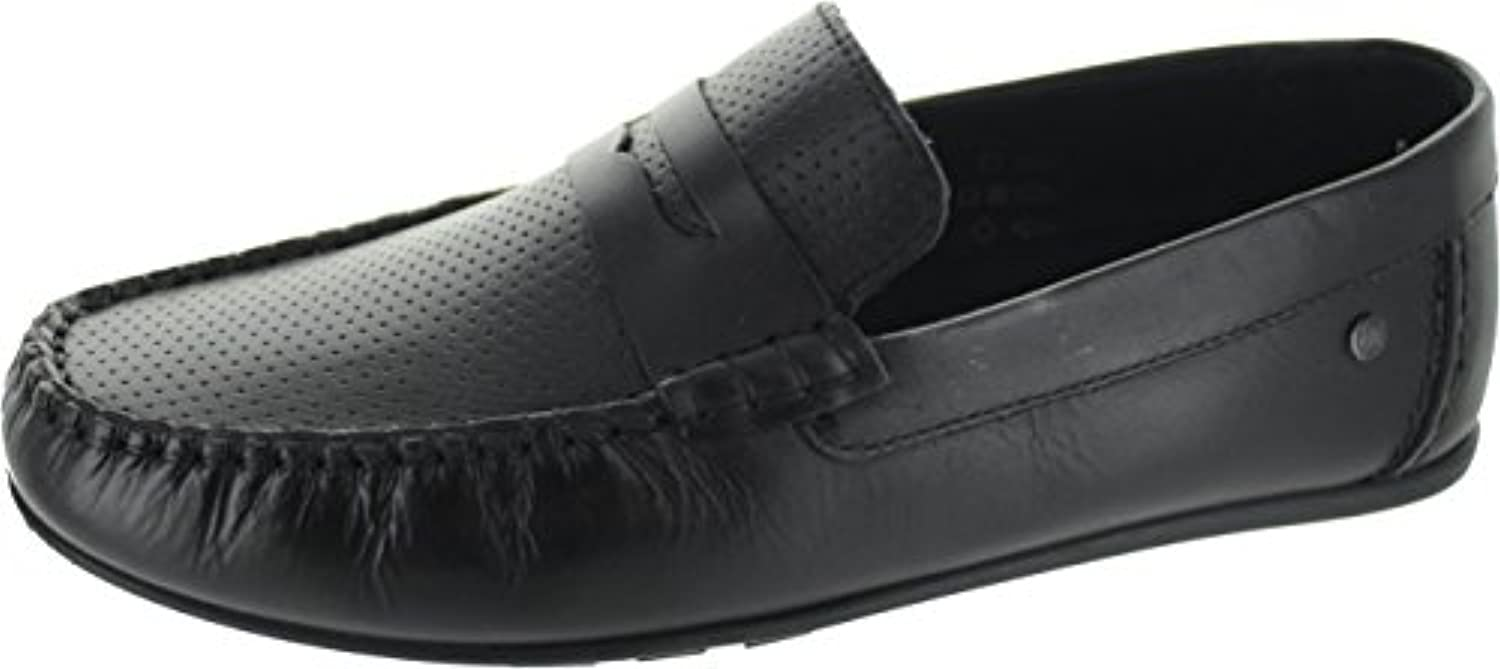 Base London Mens Attwood Waxy Leather Slip On High Shine Loafer Shoes