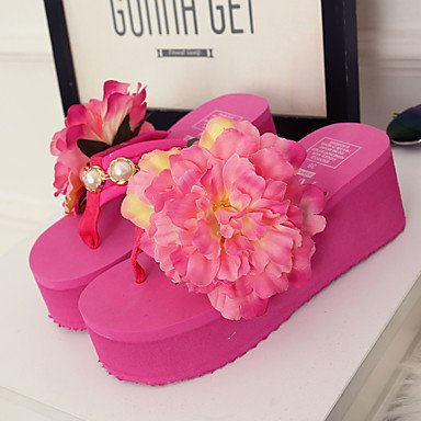 zhENfu Scarpe donna tessuto Platform Flip Flop pantofole Esterni / abito nero / rosa / Bianco Blushing Pink