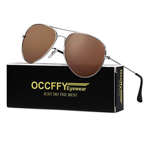 Occffy Pilotenbrille Sonnenbrille für Herren und Damen UV400 Schutz Metall Rahmen Oc7802 (Kaffee Rahmen mit Braun Linse)