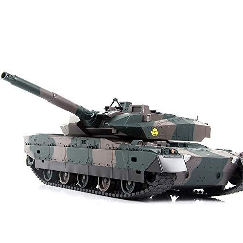Kikioo Riesige Simulation Militärmodell Panzer RC Panzerwagen Mit Fernbedienung, Batterie, Licht, Ton, Drehrevolver Rückstoßaktion Wenn Kanone Artillerie schießt Spielzeug Jungen Mädchen Urlaub Geburt
