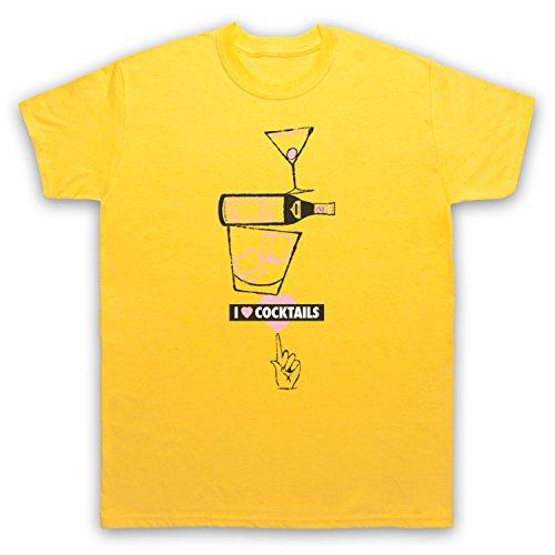 I Love Cocktails Slogan Style Herren T-Shirt Gelb