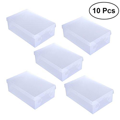 OUNONA Frauen Schuh Box Klar Faltbare Schuh Aufbewahrungsboxen Kunststoff Stapelschrank Organisation Weißen Deckel mit Clear Base (10 pack) (Klar Schuhe Frauen)
