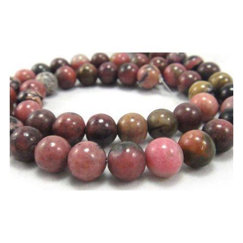 Strang 60+ Pink/Schwarz Rhodonit 6mm Rund Perlen - (GS5749-2) - Charming Beads