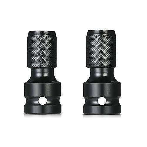 2 x Längen-Schaft Stecknuss-Adapter 1/2 Vierkantantantrieb auf 1/4 Sechskant Schnellspann-Konverter für Schlagratschenschlüssel und Schraubendreher Bit-Halterung.