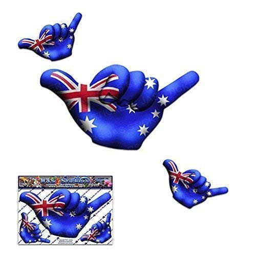 Kleine AUSTRALIEN FLAG HANG LOSE Shaka-Freundschaft lustige Surfen Autoaufkleber - ST00055AU_SML - JAS Aufkleber