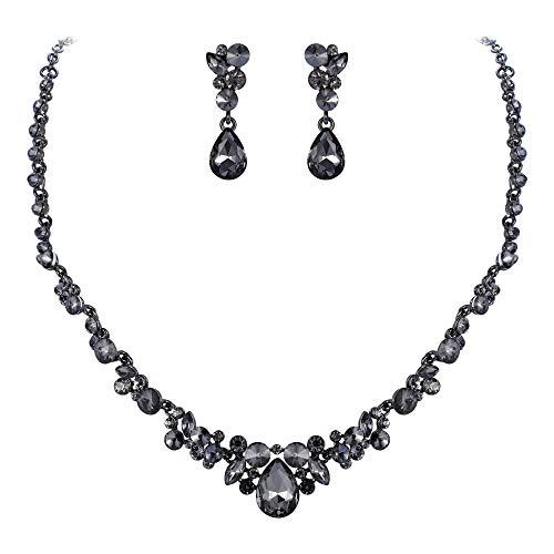 Ever Faith Damen Schmuckset österreichisch Kristall Braut Floral Tropfen Halskette Ohrringe Set Grau Schwarz-Ton