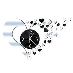 Idea Regalo - Orologio da parete 3D fai da te in acrilico a forma di cuore con effetto specchio, grande orologio da parete esclusivo per decorazione d'interni, 500 x 400 mm Silver+black