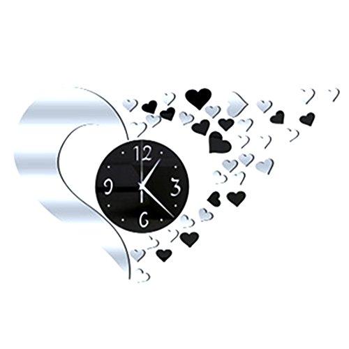 Orologio da parete 3d fai da te in acrilico a forma di cuore con effetto specchio, grande orologio da parete esclusivo per decorazione d'interni, 500 x 400 mm silver+black