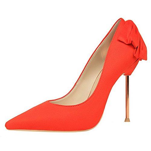 AalarDom Damen Stiletto Spitz Zehe Ziehen Auf Rein Pumps Schuhe mit Schleife Orange-Mattglasbirne