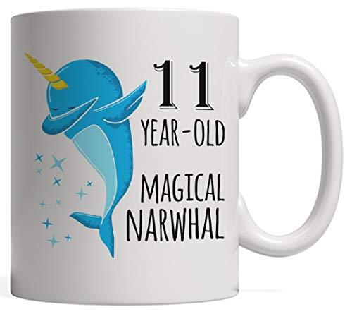 220bc8c7525 Eleven-Year-Old Magical Narwhal Dabbing Mug - 11th Birthday & Anniversary  Bday Gift! The Reincarnation of Unicorns! Dab Gift Hip-Hop Dance Pose |  Born ...