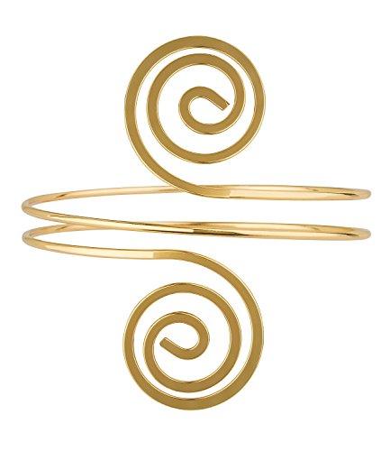 (SIX Upperarm-Cuff in Spiralform: Goldfarbener Armreif für den Oberarm, Armspange mit gedrehten Spiralen an den Enden, Eisen, Durchmesser ca. (460-923))