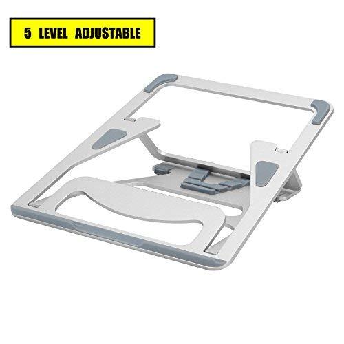 DRROT Klappbarer Aluminium-Ständer für MacBooks, 5 Winkel, verstellbar, belüftet, für 7-15 Zoll Notebooks/iPad/Tablets, silberfarben -