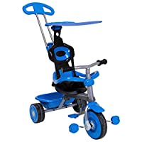 Charles Bentley Kids Trike Star with Canopy & Safety Guard 4 in 1 with Adjustable Steering Parent Handle in Blue