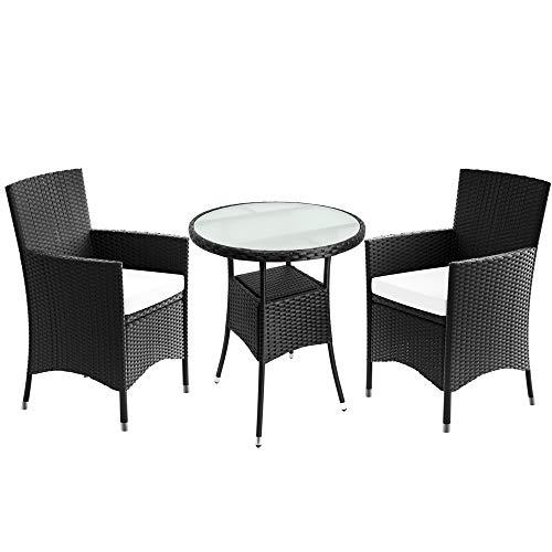 Deuba Poly Rattan Balkonset Sitzgruppe Schwarz 3 TLG 2 Stapelbare Stühle & Balkontisch 7cm Dicke Auflagen Balkonmöbel Set