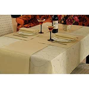 Gold Swirl Design Dining Table Linen Set for 6 Seater Tables (Contains Table Runner, TableCloth ...