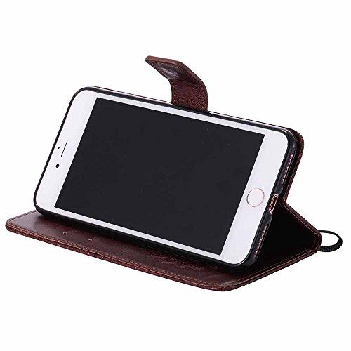 Custodia iPhone 7 Plus, Dfly Premium PU Goffratura Mandala Design Pelle Chiusura Magnetica Protettiva Portafoglio Custodia Super Sottile Flip Cover per iPhone 7 Plus 2016, Rosso Marrone