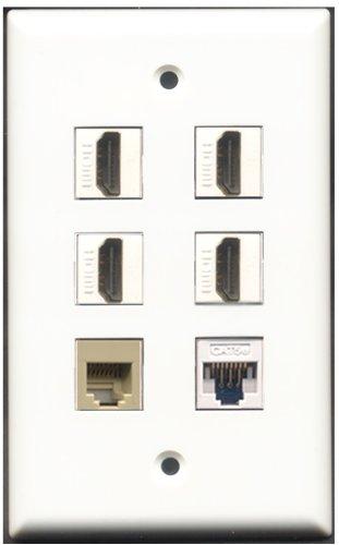 RiteAV-4Port HDMI 1RJ11, RJ12, beige 1Cat5e weiß Wall Plate 6 Port Flush