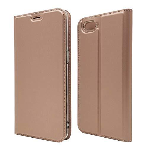 Custodia® Ultra Schlank PU TPU Flip Folio Hülle mit Kartensteckplatz und Standfunktion für Oppo R15 Neo(Rose Gold)