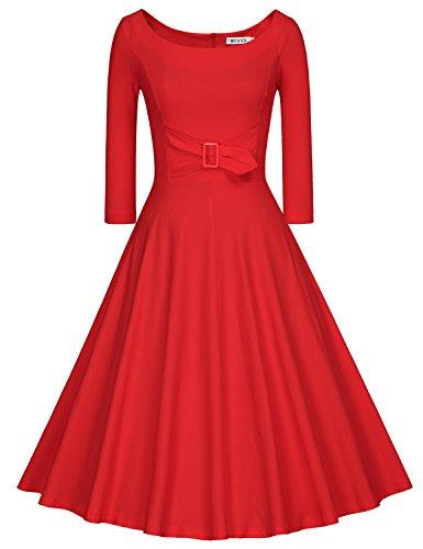 MUXXN Damen 3/4 Ärmel Retro Kleider Rund-Ausschnitt Kleid Party Swing Kleid Rockabilly Red