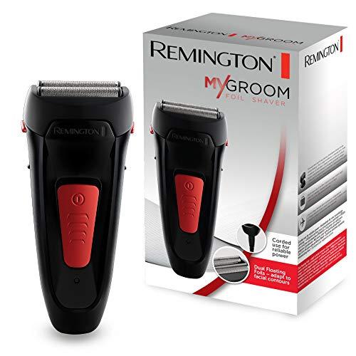 Remington Folienrasierer MyGroom F0050, vollflexible Scherfolien, kompaktes Design, abnehmbarer Scherkopf für eine einfache Reinigung, Trockenanwendung, schwarz/rot