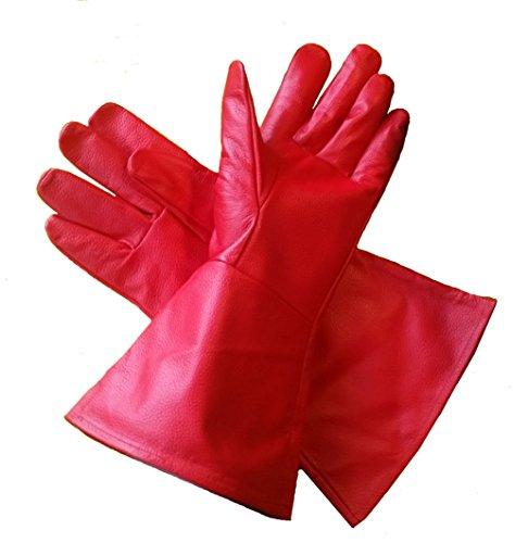 Stormtrooper Rot Kostüm - Leder Stulpenhandschuhe rot (xx-small) extra-extra klein lang Arm Manschette