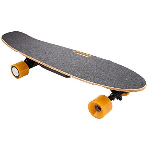 Nisels Elektro Skateboard Longboard Elektro Antrieb E-Board 350W Hohe Leistung 20 km/h mit Fernbedienung und Motor SamSung Lithium Batterie 7 Schichten Ahornholz und PU-Rad Belastbar bis 60kg Komplett Board(DE Lager)