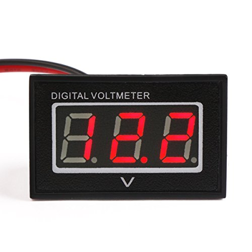 Preisvergleich Produktbild DROK® DC 2.5-30V Voltage Meter Spritzfest Digitalvoltmeter rote LED Digital Display Panel Volt Testing Meter 12V 24V Batterie-Monitor für Auto Auto Motorrad Fahrzeuge