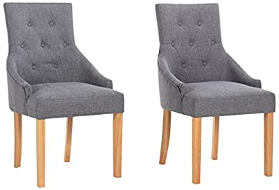 Yakoe Set of 2 New Linen Fabric Dining Chairs Scoop Button Back with Solid Wood Legs living Room Dining Room Office, Fabric, Grey produced by Sheng Yang - quick delivery from UK.