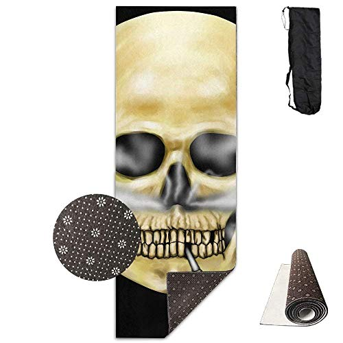 """QIAOJIE Yoga Mats Yoga Mat with Carrying Bag Colored Skull Smoke Fitness High Density Anti-Tear Exercise Gym Mat 70.9\""""x24.0\"""""""