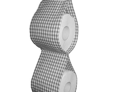 Ersatzrollenhalter Toilettenpapierhalter Zeitschriftenhalter Klopapierhalter grau-weiß kariert