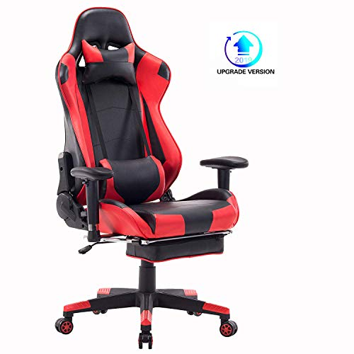 Wolmics 2019 Upgrade Version Gaming-Stuhl mit Fußstütze,Computerstuhl Schreibtischstuhl Rennstil Ergonomisches Design Leder Bürostuhl Drehstuhl Chefsessel mit Lordosenstütze Kopfstütze WS204 Rot