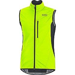 GORE BIKE WEAR Chaleco para ciclismo, Hombre, Súper Ligrero, GORE WINDSTOPPER, Talla M, Negro/Amarillo neón, VWLELE350004