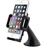 AUKEY Car Holder Windshield Dashboard 360 Degree Rotating Universal Car Mount Holder Cradle for GPS, Apple iPhone 6S / 6, iPhone 5S / 5C / 5, iPhone SE, Samsung Galaxy S6 Edge Note5 / 4, Nexus, and others Smartphones(Black)