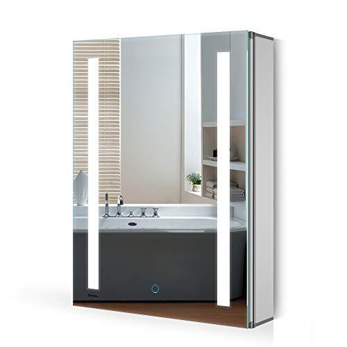 Quavikey Armario con Espejo LED Armario con Espejo de baño de Aluminio con luz de iluminación Armario...