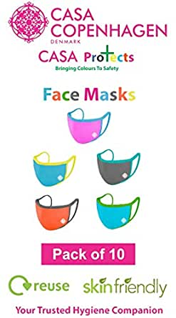 Casa Copenhagen Reusable Cotton 4D Stretch Mouth Nose Face Mask, Anti Pollution Bike/Scooter Driving Protection for Filtering The Air, Free Size (Multicolour) - Set of 10