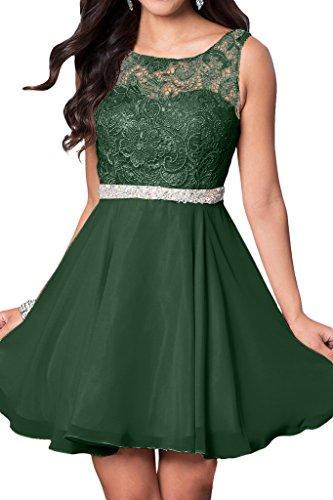 Prom Style Damen Prinzessin Spitze Traeger Abendkleider Ballkleider Partykleider A-Linie Kurz Chiffon Olivegruen