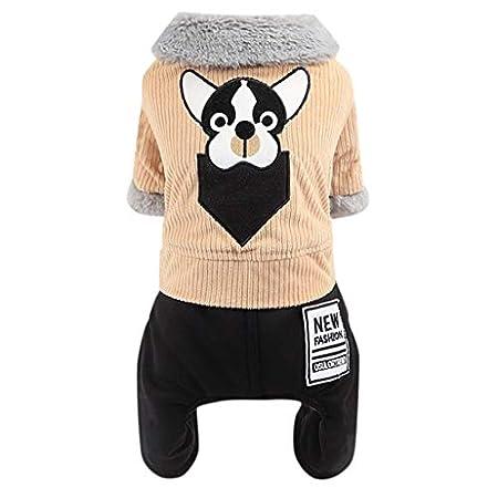 BaojunHT Kleines Hündchen Cord Winterjacke Haustier Fleece Warmer Pelzkragen Mantel Outfits mit 4 Beinen