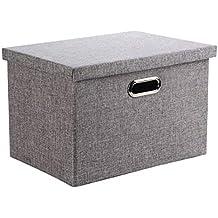 Caja de Almacenaje, Wintao Ropa de Lino Plegable Cestas de Almacenamiento de Ropa con Tapas