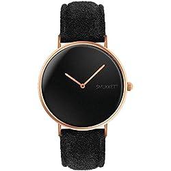 SMUKKETT Watches Damen-Armbanduhr Analog Quarz flach und klassisch in Rosegold Schwarz mit Wildleder-Band 36 mm Herren-Uhr Unisex