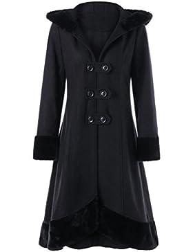 Internert Chaqueta de abrigo delgada mujer Dama doble breasted collar de piel con capucha correas chaqueta de...