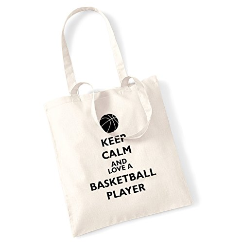 Keep calm love-Borsa di un giocatore di basket natur