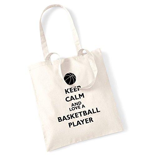 Keep calm love-Borsa di un giocatore di basket natur